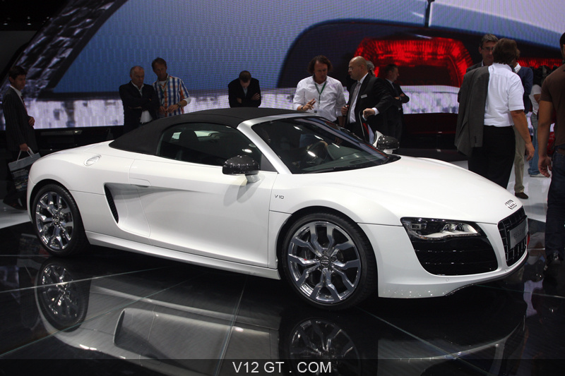 audi r8 spyder v10 blanche profil salon de francfort iaa 2009 photos salons les plus. Black Bedroom Furniture Sets. Home Design Ideas